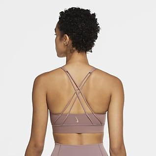 Nike Swoosh Luxe Sport-BH med mediumstöd, inlägg och lång design för kvinnor
