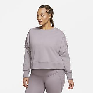 Nike Therma Camisola de treino de lã cardada recortada com cordões para mulher (tamanhos Plus)