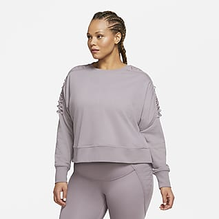 Nike Therma Maglia a girocollo corta da training in fleece con lacci (Plus size) - Donna