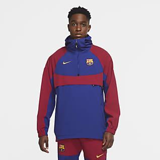 F.C. Barcelona Men's Hooded Woven Jacket