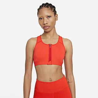 Nike Dri-FIT Swoosh Спортивное бра со средней поддержкой, вкладышем и застежкой спереди