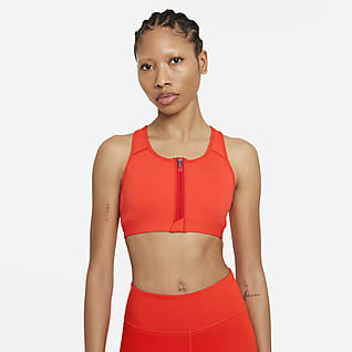 Nike Dri-FIT Swoosh Damski stanik sportowy z wkładkami, średnim wsparciem i zamkiem z przodu