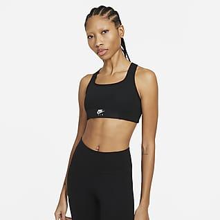 Nike Air Dri-FIT Swoosh Bra deportivo con abertura con almohadilla de una sola pieza de sujeción media para mujer