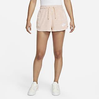 Nike Air กางเกงขาสั้นกำมะหยี่เอวปานกลางผู้หญิง