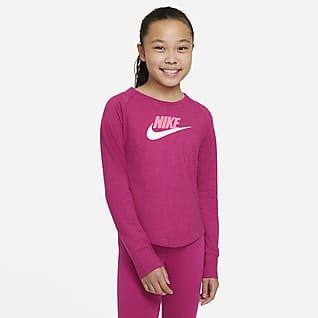 Nike Sportswear 大童 (女童) 平織貼身圓領上衣