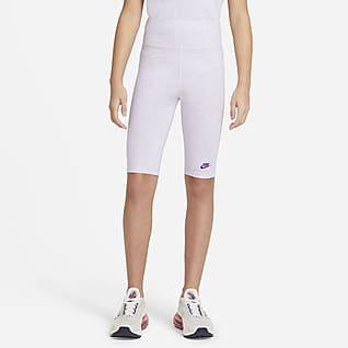 Nike Sportswear Spodenki do jazdy na rowerze z wysokim stanem dla dużych dzieci (dziewcząt) 23 cm