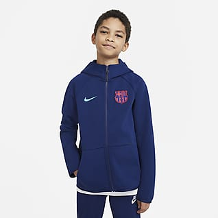FC Barcelona Tech Fleece Hoodie de futebol com fecho completo Júnior