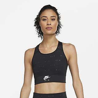 Nike Air Swoosh Sport-BH mit mittlerem Halt, einteiligem Polster und langem Design für Damen