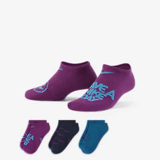 Nike Everyday Calcetines ligeros invisibles para niños talla grande (3 pares)
