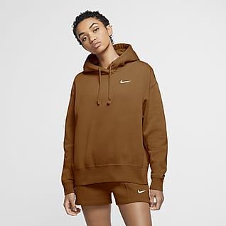 NIKE Womens Sweatshirt Medium Cotton Brown
