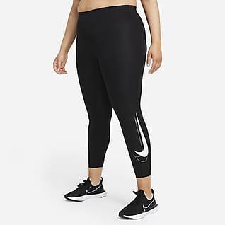 Nike Dri-FIT Swoosh Run Женские слегка укороченные леггинсы для бега со средней посадкой (большие размеры)