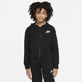 Nike Sportswear Club Fleece Hosszú cipzáras, kapucnis pulóver nagyobb gyerekeknek (lány)
