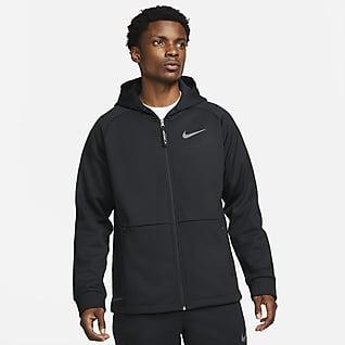 Nike Pro Therma-FIT Jacke mit Kapuze und durchgehendem Reißverschluss für Herren