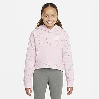 Nike Sportswear Εμπριμέ φλις μπλούζα με κουκούλα για μεγάλα κορίτσια