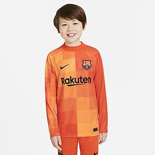 FC Barcelona 2021/22 Stadium Gardien de but Maillot de football à manches longues pour Enfant plus âgé