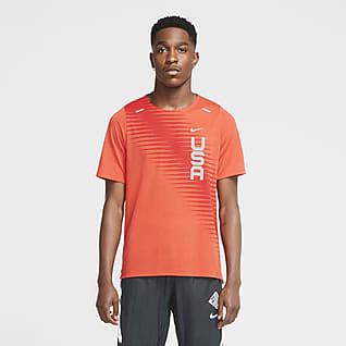 Nike Dri-FIT Team USA Rise 365 Kortærmet løbeoverdel til mænd