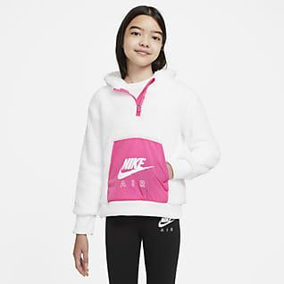 Nike Air Sudadera con capucha de tejido Sherpa para niña talla grande