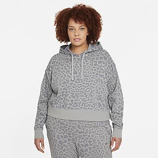 Nike Get Fit Sudadera con gorro de entrenamiento con estampado sin cierre para mujer talla grande