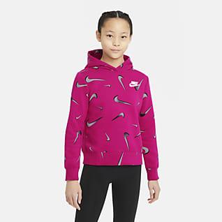 Nike Sportswear Huvtröja med tryck för ungdom (tjejer)