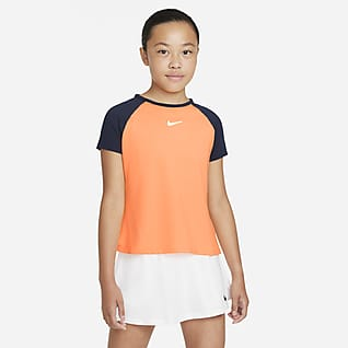 NikeCourt Dri-FIT Victory Kortärmad tenniströja för ungdom (tjejer)