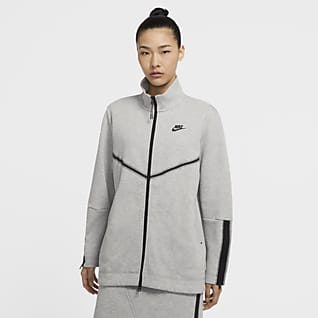 Nike Sportswear Tech Fleece Parte de cima de manga comprida e fecho completo para mulher