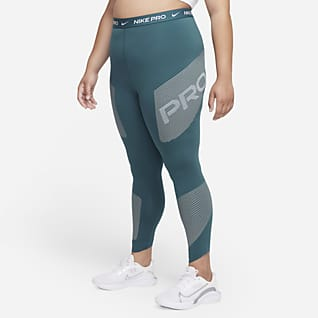 Nike Pro Dri-FIT Leggings con gráfico de cintura alta de 7/8 para mujer (talla grande)