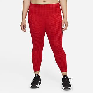 Nike Dri-FIT One Icon Clash 7/8-legging met print en halfhoge taille voor dames (Plus Size)