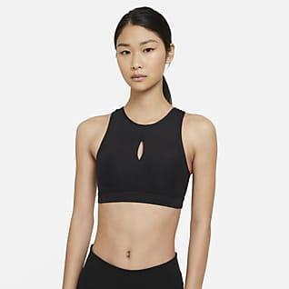 Nike Yoga Swoosh สปอร์ตบราผู้หญิงซัพพอร์ตระดับกลางเสริมฟองน้ำ