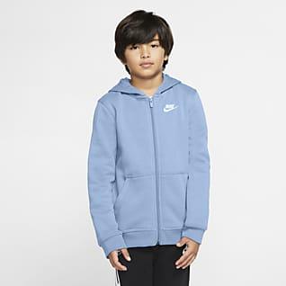 Nike Sportswear Club Μπλούζα με κουκούλα και φερμουάρ σε όλο το μήκος για μεγάλα παιδιά
