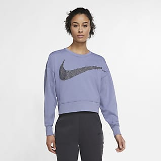 Nike Dri-FIT Get Fit Top da training in fleece scintillante - Donna
