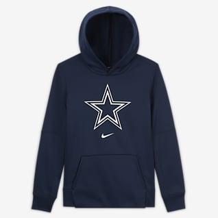 Nike Essential Dallas Cowboys Μπλούζα με κουκούλα και λογότυπο για μεγάλα αγόρια