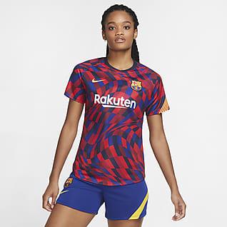 FC Barcelona Kurzärmeliges Pre-Match-Fußballoberteil für Damen