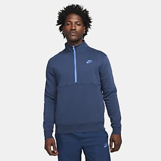 Nike Sportswear Club Ανδρικό φούτερ με χνουδωτή υφή στο εσωτερικό και φερμουάρ στο μισό μήκος
