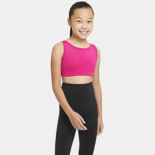 Nike Swoosh Luxe Stanik sportowy o wydłużonym kroju dla dużych dzieci (dziewcząt)