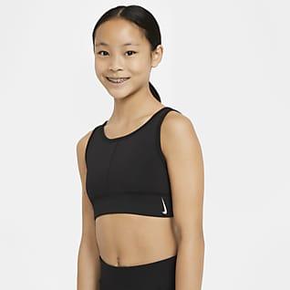 Nike Swoosh Luxe Sport-BH mit langem Design für ältere Kinder (Mädchen)