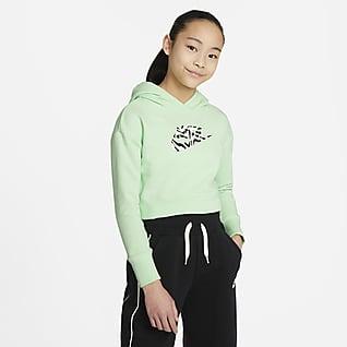 Nike Sportswear Zkrácená mikina s kapucí pro větší děti (dívky)