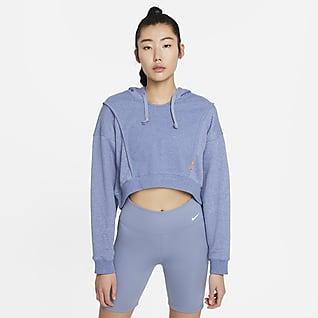 Nike Dri-FIT เสื้อเทรนนิ่งมีฮู้ดเอวลอยผ้าฟลีซผู้หญิง