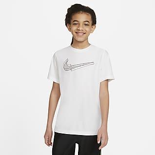 Nike Camiseta de entrenamiento de manga corta con gráfico para niño talla grande