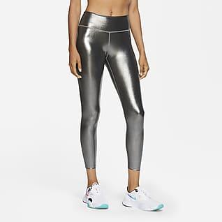 Nike One Icon Clash 7/8-Leggings mit mittelhohem schimmerndem Design für Damen