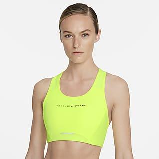 Nike Air Dri-FIT Swoosh Orta Destekli Tek Parça Pedli Yansıtıcı Kadın Spor Sütyeni