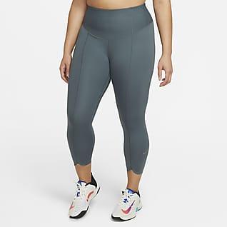 Nike One Luxe Icon Clash Leggings cropped de tiro medio para mujer (talla grande)
