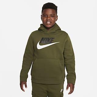 Nike Sportswear Club Fleece Μπλούζα με κουκούλα για μεγάλα αγόρια (μεγαλύτερο νούμερο)