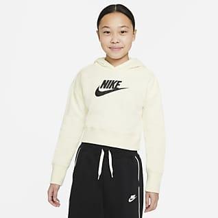 Nike Sportswear Club Μπλούζα με κουκούλα crop από ύφασμα French Terry για μεγάλα κορίτσια