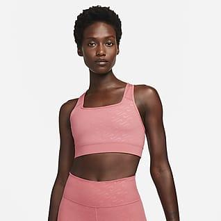 Nike Dri-FIT Swoosh Icon Clash Közepes tartást adó, mintás női sportmelltartó egyrészes betéttel