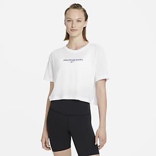 Nike Yoga T-shirt recortada com grafismo para mulher