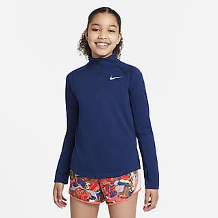 Nike Dri-FIT Футболка для бега с длинным рукавом для девочек школьного возраста