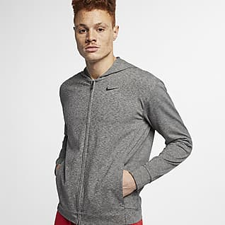 Nike Dri-FIT Hosszú cipzáras, kapucnis férfi edzőpulóver jógához