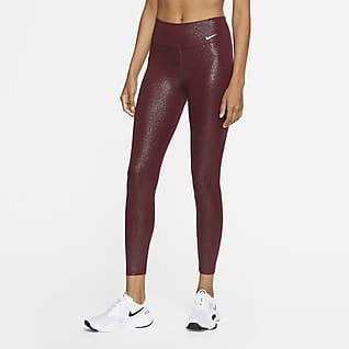 Nike One Женские слегка укороченные тайтсы с блестящим покрытием