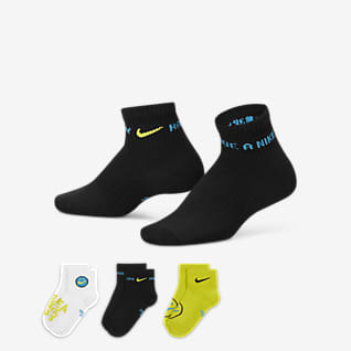 Nike Everyday Calcetines hasta el tobillo ligeros para niños talla grande (3 pares)