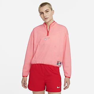 Nike F.C. Dri-FIT Mellanlagerjacka med kvartslång dragkedja för kvinnor